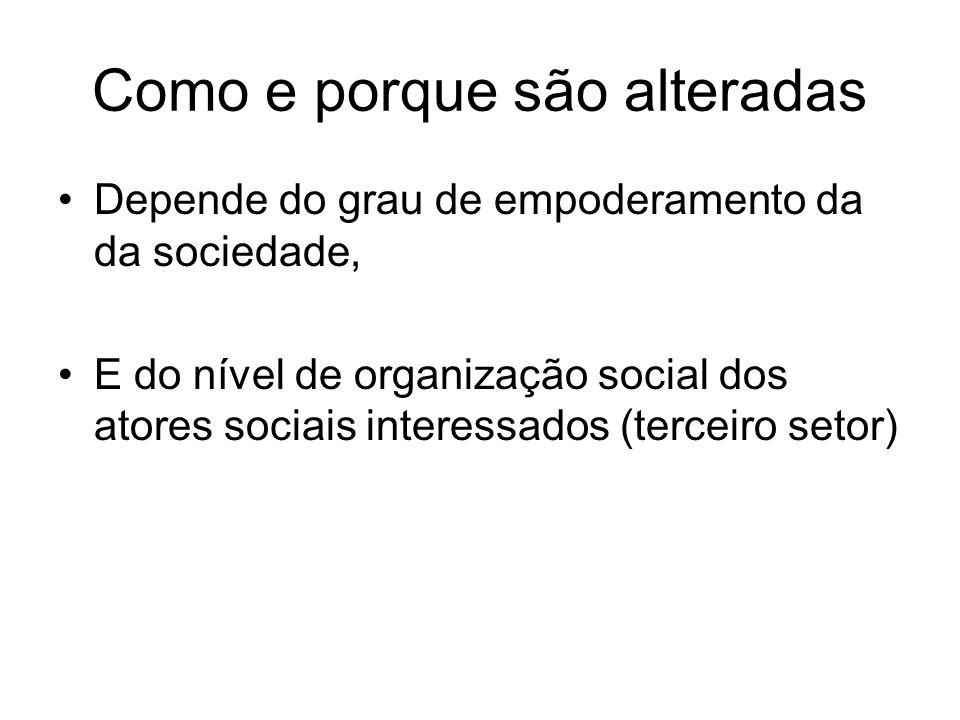 Como e porque são alteradas Depende do grau de empoderamento da da sociedade, E do nível de organização social dos atores sociais interessados (tercei