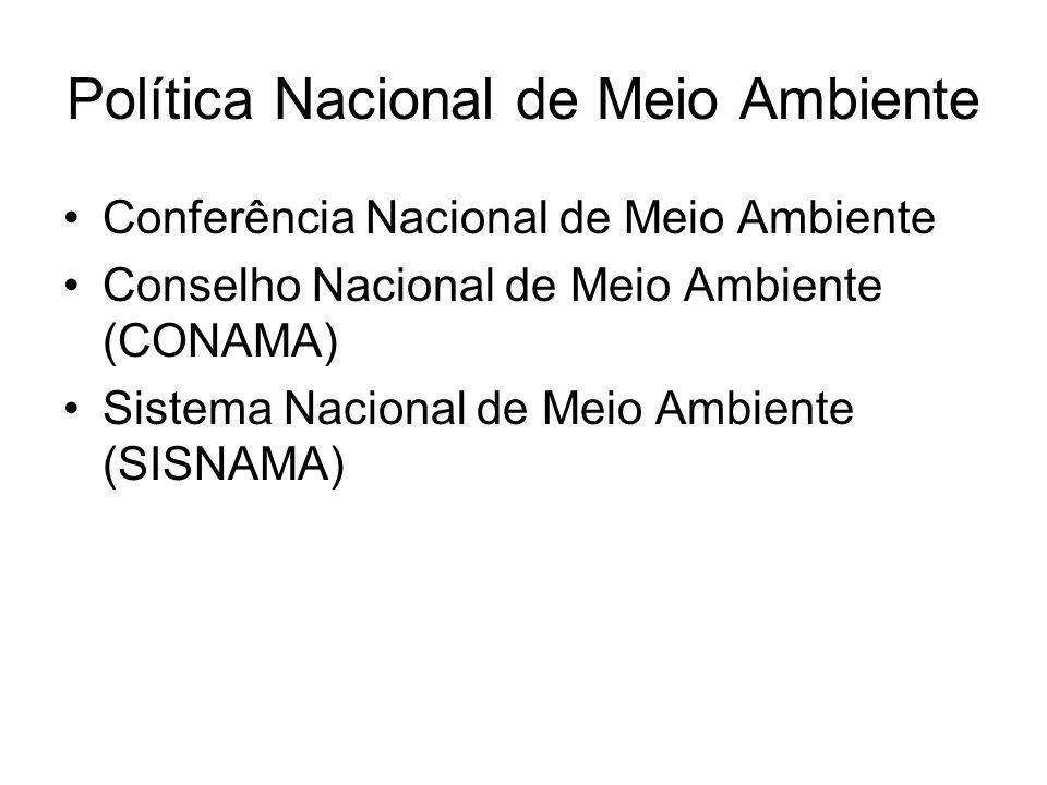 Política Nacional de Meio Ambiente Conferência Nacional de Meio Ambiente Conselho Nacional de Meio Ambiente (CONAMA) Sistema Nacional de Meio Ambiente