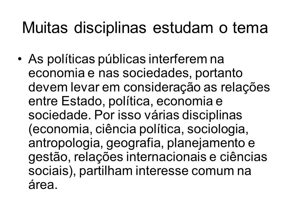 Muitas disciplinas estudam o tema As políticas públicas interferem na economia e nas sociedades, portanto devem levar em consideração as relações entr