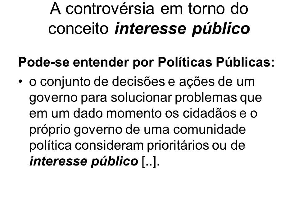 A controvérsia em torno do conceito interesse público Pode-se entender por Políticas Públicas: o conjunto de decisões e ações de um governo para soluc