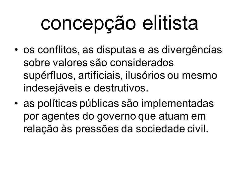 concepção elitista os conflitos, as disputas e as divergências sobre valores são considerados supérfluos, artificiais, ilusórios ou mesmo indesejáveis