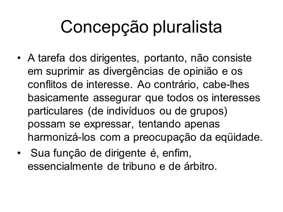 Concepção pluralista A tarefa dos dirigentes, portanto, não consiste em suprimir as divergências de opinião e os conflitos de interesse. Ao contrário,