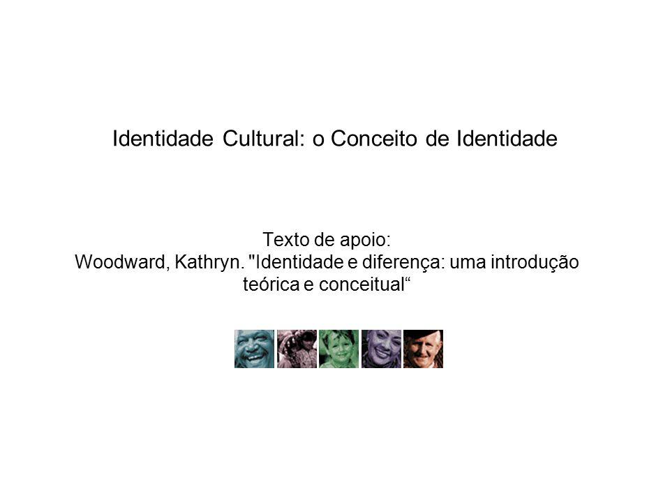 Identidade Cultural: o Conceito de Identidade A identidade é relacional: depende de algo de fora (outra identidade) é caracterizada pela diferença Exemplo dado no texto, dos sérvios e croatas: são negadas as similaridades.