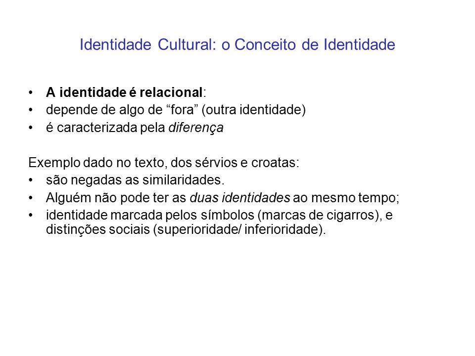 """Identidade Cultural: o Conceito de Identidade A identidade é relacional: depende de algo de """"fora"""" (outra identidade) é caracterizada pela diferença E"""