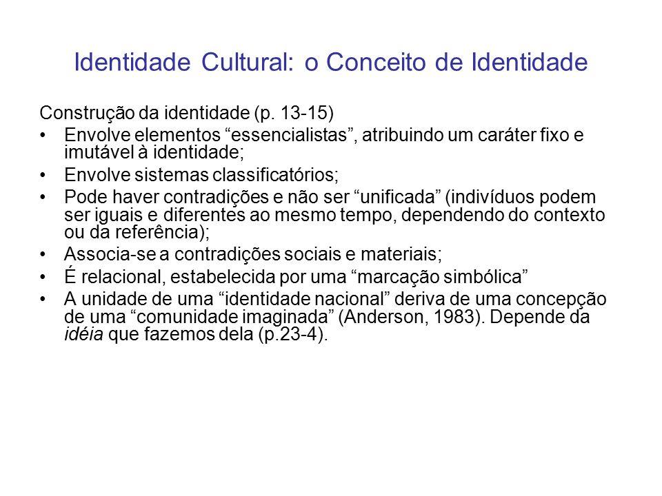"""Identidade Cultural: o Conceito de Identidade Construção da identidade (p. 13-15) Envolve elementos """"essencialistas"""", atribuindo um caráter fixo e imu"""