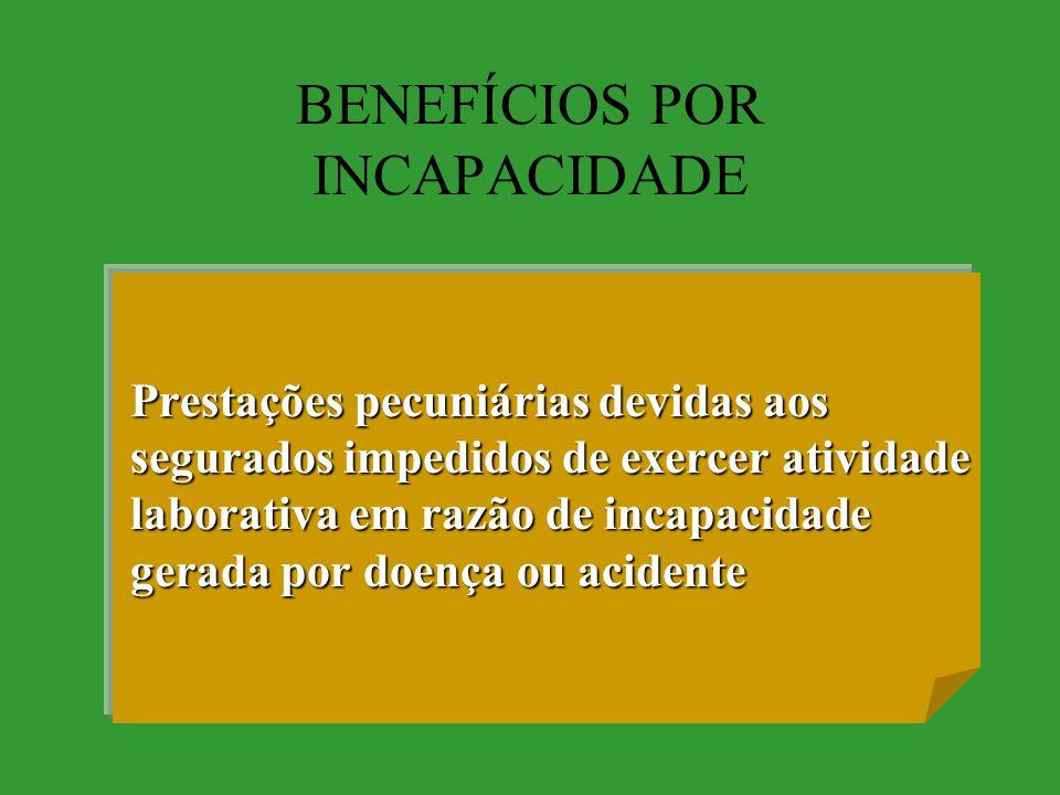 BENEFÍCIOS POR INCAPACIDADE Prestações pecuniárias devidas aos segurados impedidos de exercer atividade laborativa em razão de incapacidade gerada por doença ou acidente