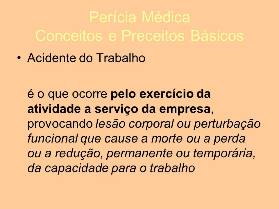 Perícia Médica Conceitos e Preceitos Básicos Acidente do Trabalho é o que ocorre pelo exercício da atividade a serviço da empresa, provocando lesão corporal ou perturbação funcional que cause a morte ou a perda ou a redução, permanente ou temporária, da capacidade para o trabalho