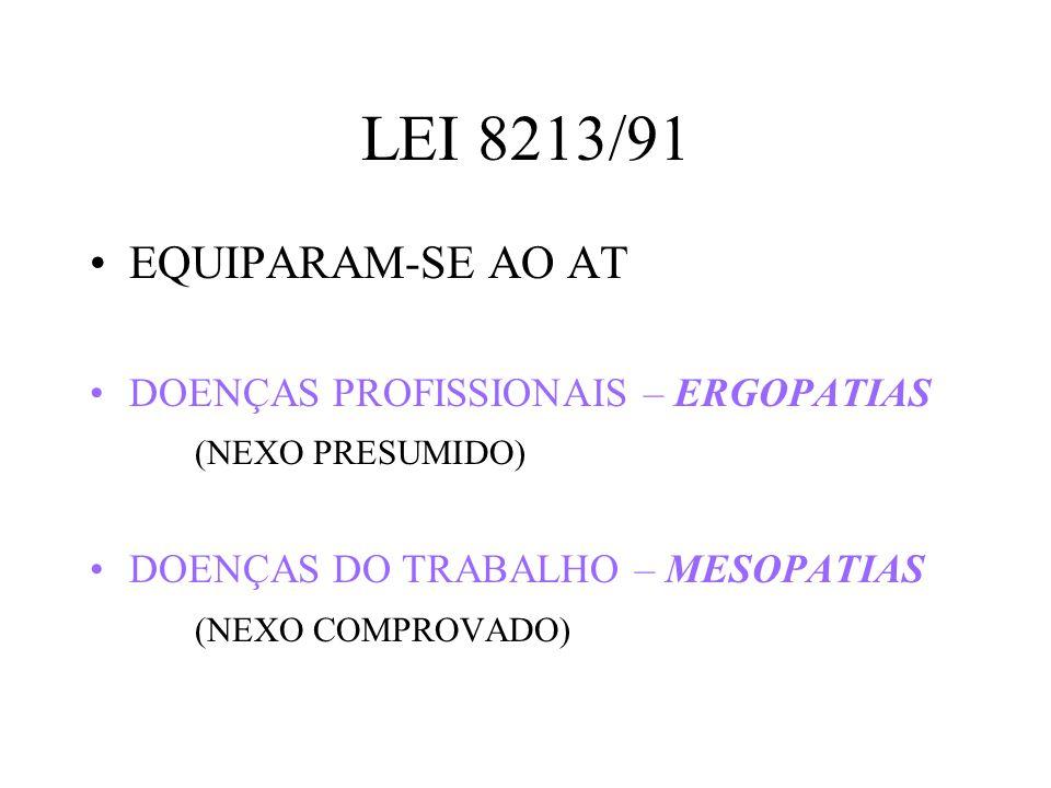 LEI 8213/91 EQUIPARAM-SE AO AT DOENÇAS PROFISSIONAIS – ERGOPATIAS (NEXO PRESUMIDO) DOENÇAS DO TRABALHO – MESOPATIAS (NEXO COMPROVADO)