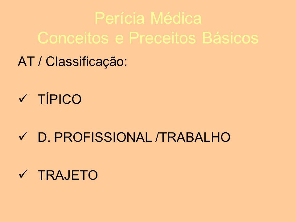 Perícia Médica Conceitos e Preceitos Básicos AT / Classificação: TÍPICO D.