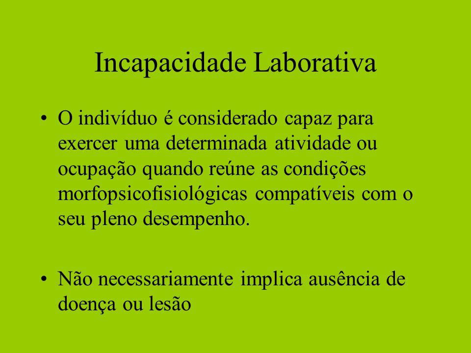 Incapacidade Laborativa O indivíduo é considerado capaz para exercer uma determinada atividade ou ocupação quando reúne as condições morfopsicofisiológicas compatíveis com o seu pleno desempenho.