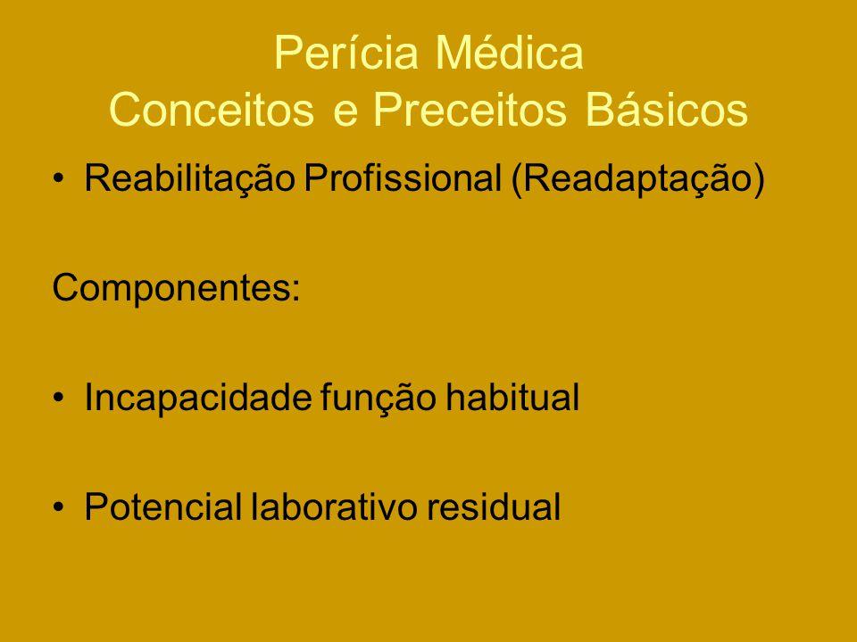 Perícia Médica Conceitos e Preceitos Básicos Reabilitação Profissional (Readaptação) Componentes: Incapacidade função habitual Potencial laborativo residual