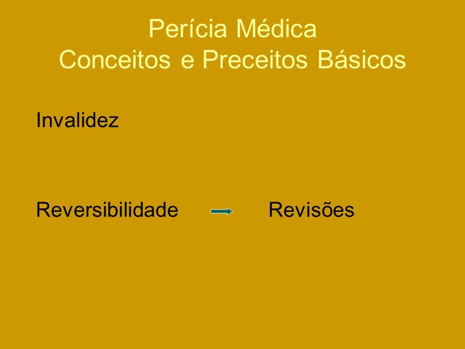 Perícia Médica Conceitos e Preceitos Básicos Invalidez Reversibilidade Revisões