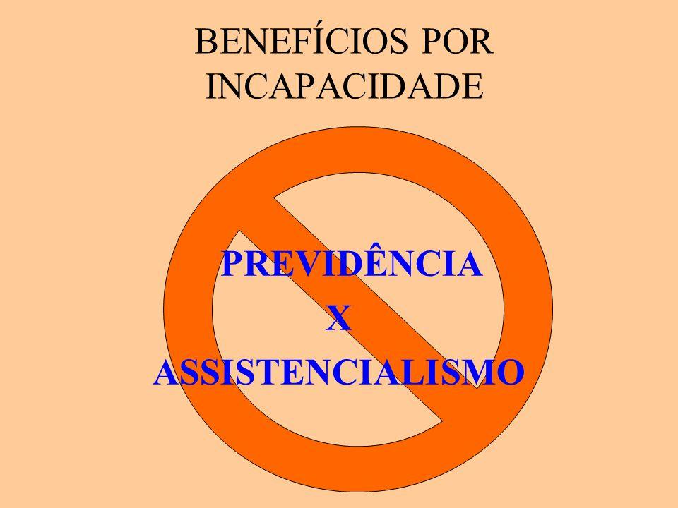 BENEFÍCIOS POR INCAPACIDADE PREVIDÊNCIA X ASSISTENCIALISMO