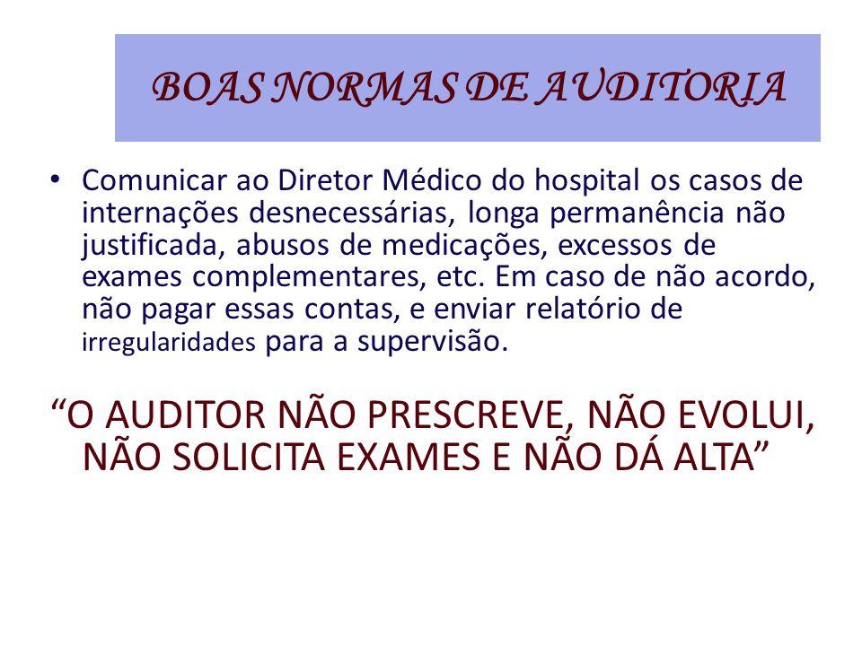 Comunicar ao Diretor Médico do hospital os casos de internações desnecessárias, longa permanência não justificada, abusos de medicações, excessos de exames complementares, etc.