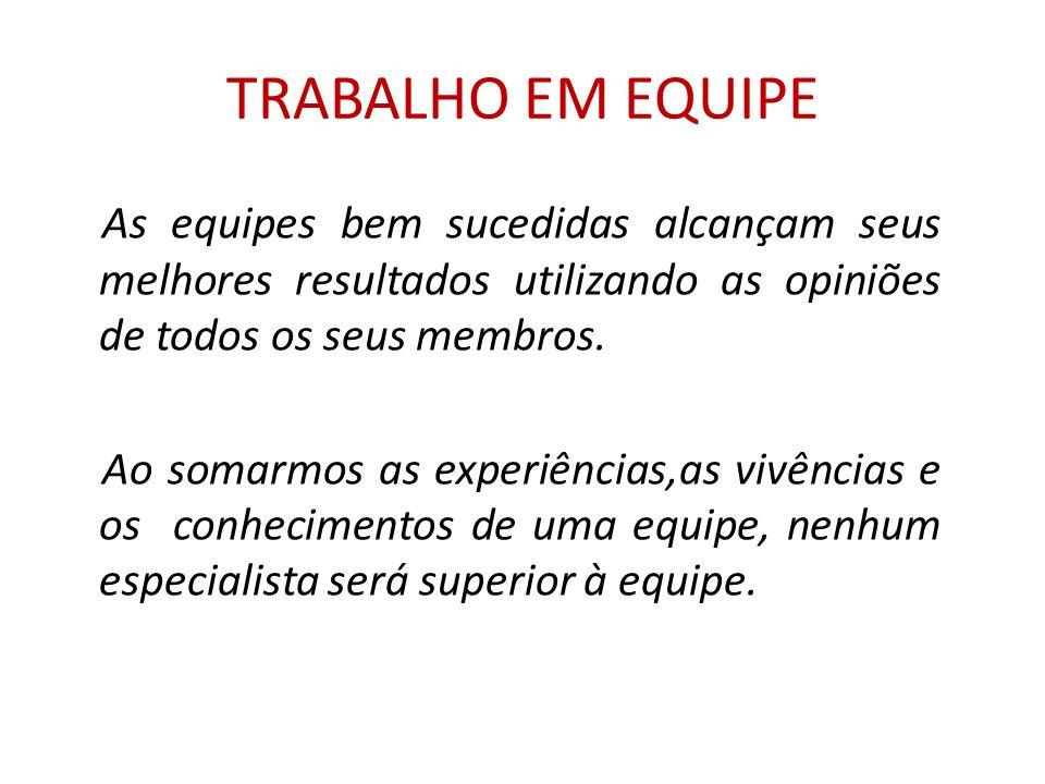 TRABALHO EM EQUIPE As equipes bem sucedidas alcançam seus melhores resultados utilizando as opiniões de todos os seus membros.