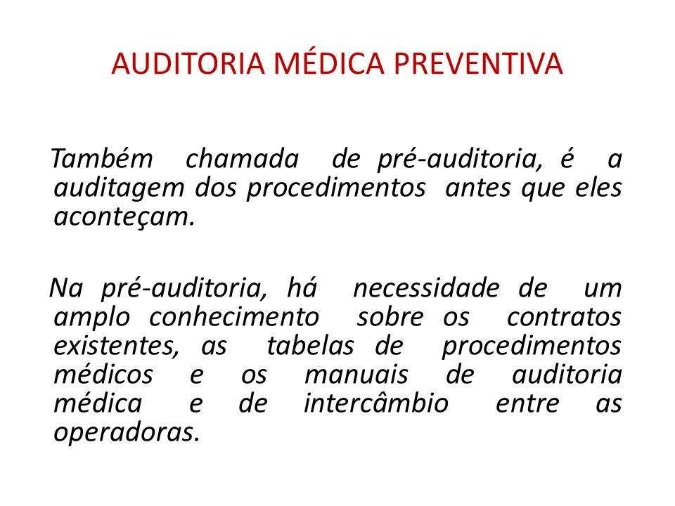 AUDITORIA MÉDICA PREVENTIVA Também chamada de pré-auditoria, é a auditagem dos procedimentos antes que eles aconteçam.
