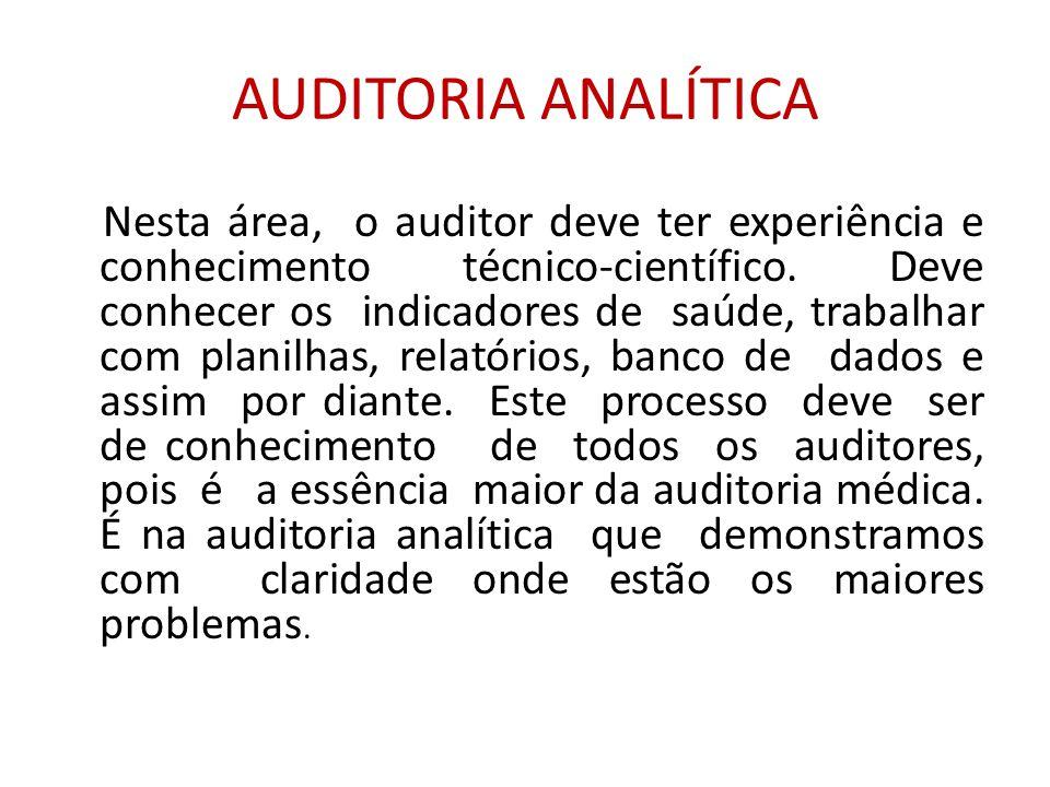 AUDITORIA ANALÍTICA Nesta área, o auditor deve ter experiência e conhecimento técnico-científico.