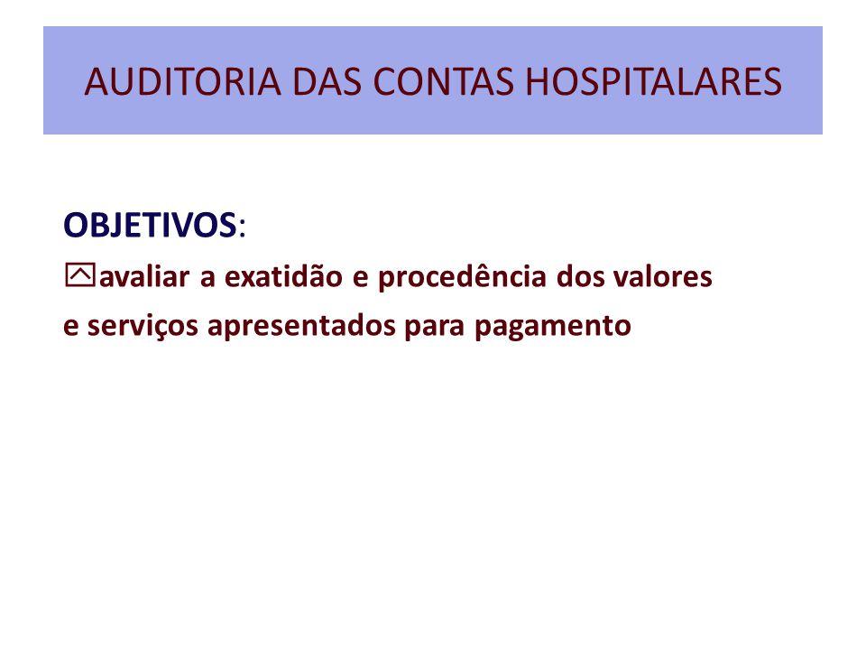 AUDITORIA DAS CONTAS HOSPITALARES OBJETIVOS:  avaliar a exatidão e procedência dos valores e serviços apresentados para pagamento
