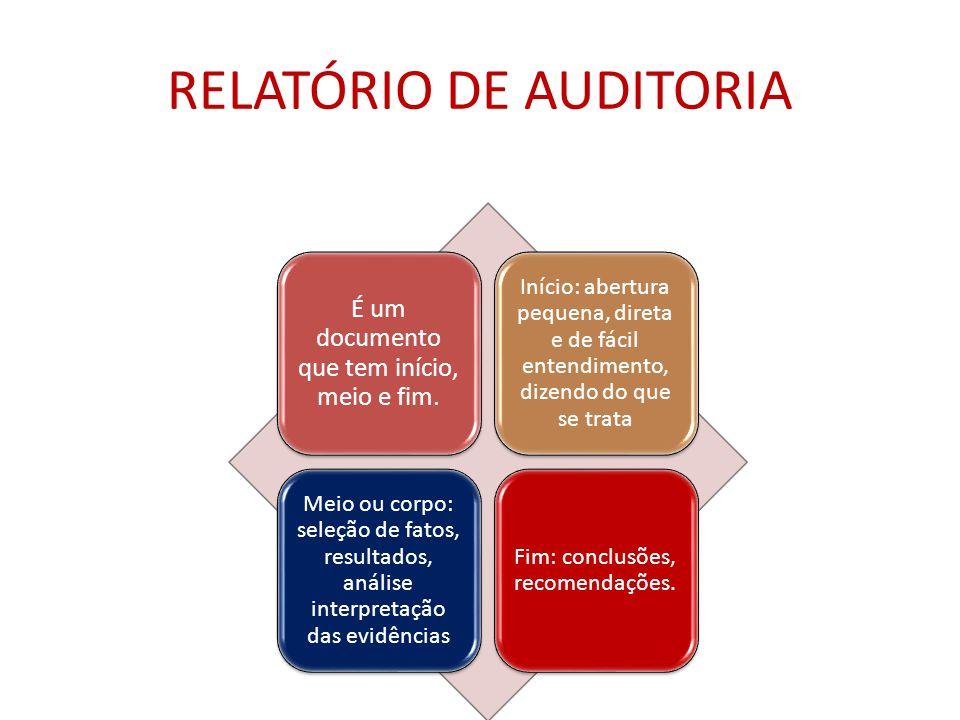 RELATÓRIO DE AUDITORIA É um documento que tem início, meio e fim.