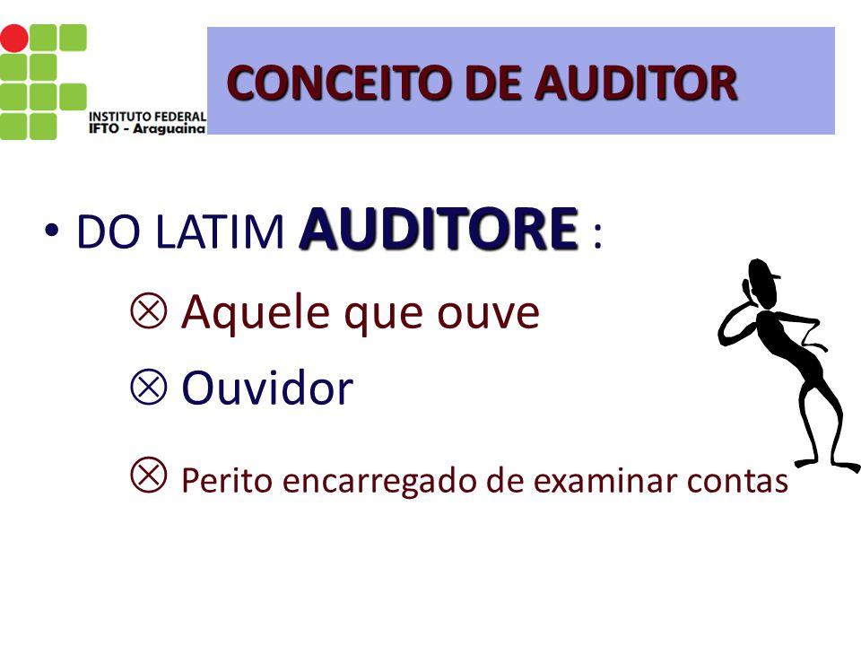 CONCEITO DE AUDITOR AUDITORE DO LATIM AUDITORE :  Aquele que ouve  Ouvidor  Perito encarregado de examinar contas