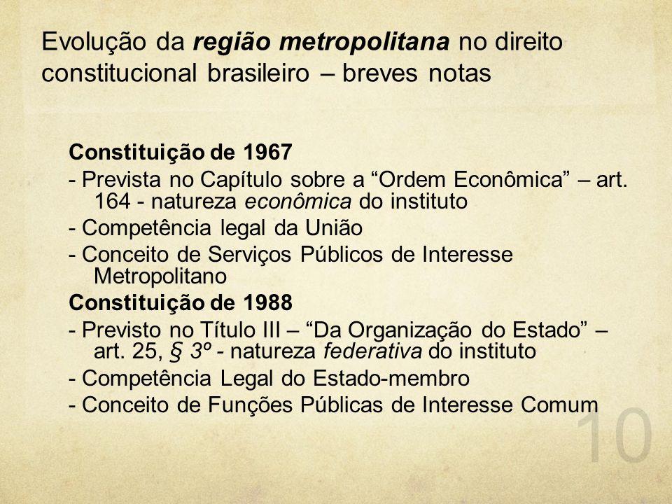 """Evolução da região metropolitana no direito constitucional brasileiro – breves notas Constituição de 1967 - Prevista no Capítulo sobre a """"Ordem Econôm"""