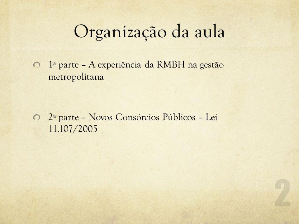 Organização da aula 1ª parte – A experiência da RMBH na gestão metropolitana 2ª parte – Novos Consórcios Públicos – Lei 11.107/2005