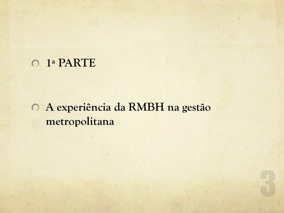 1ª PARTE A experiência da RMBH na gestão metropolitana