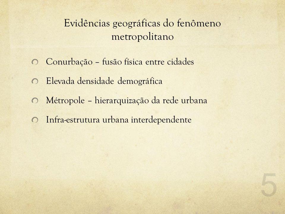 Evidências geográficas do fenômeno metropolitano Conurbação – fusão física entre cidades Elevada densidade demográfica Métropole – hierarquização da r