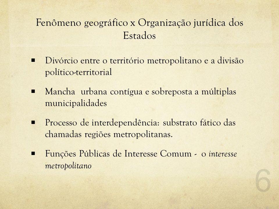 Fenômeno geográfico x Organização jurídica dos Estados  Divórcio entre o território metropolitano e a divisão político-territorial  Mancha urbana co
