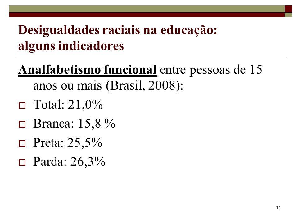 17 Desigualdades raciais na educação: alguns indicadores Analfabetismo funcional entre pessoas de 15 anos ou mais (Brasil, 2008):  Total: 21,0%  Bra