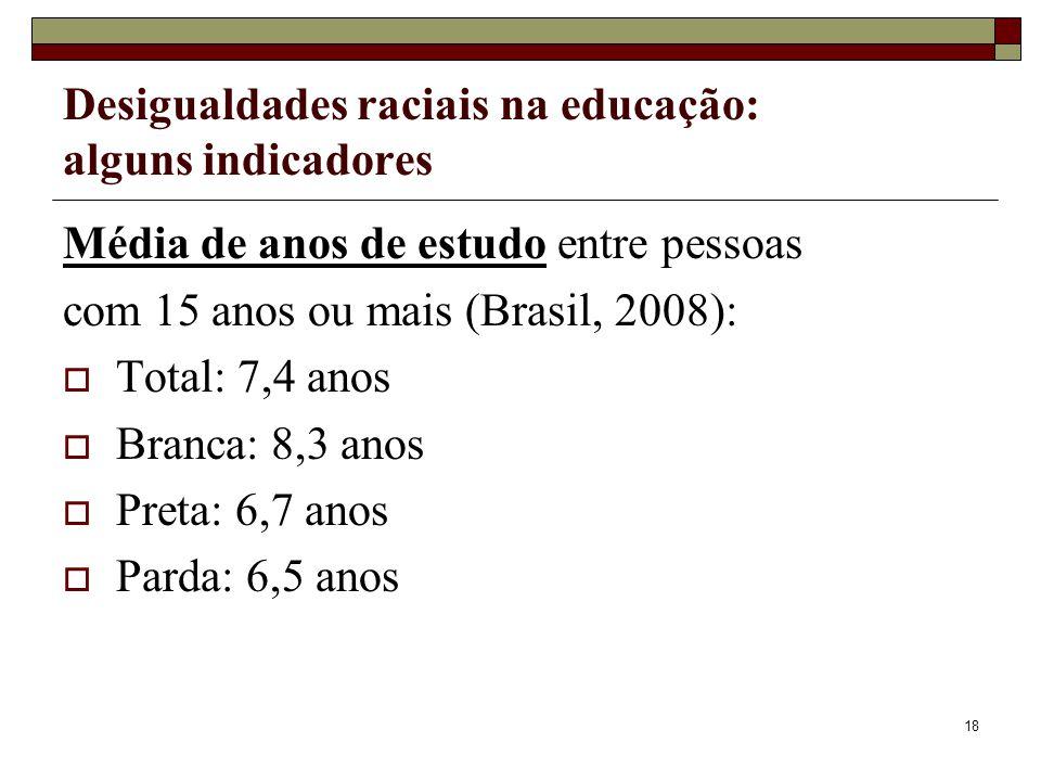 18 Desigualdades raciais na educação: alguns indicadores Média de anos de estudo entre pessoas com 15 anos ou mais (Brasil, 2008):  Total: 7,4 anos 