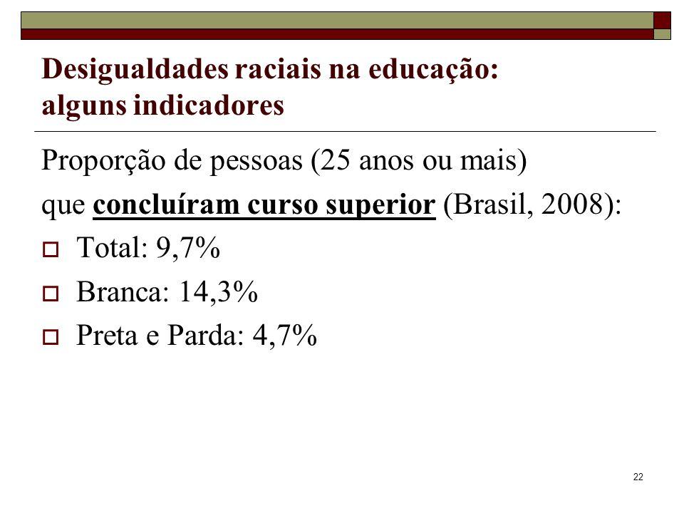 22 Desigualdades raciais na educação: alguns indicadores Proporção de pessoas (25 anos ou mais) que concluíram curso superior (Brasil, 2008):  Total: