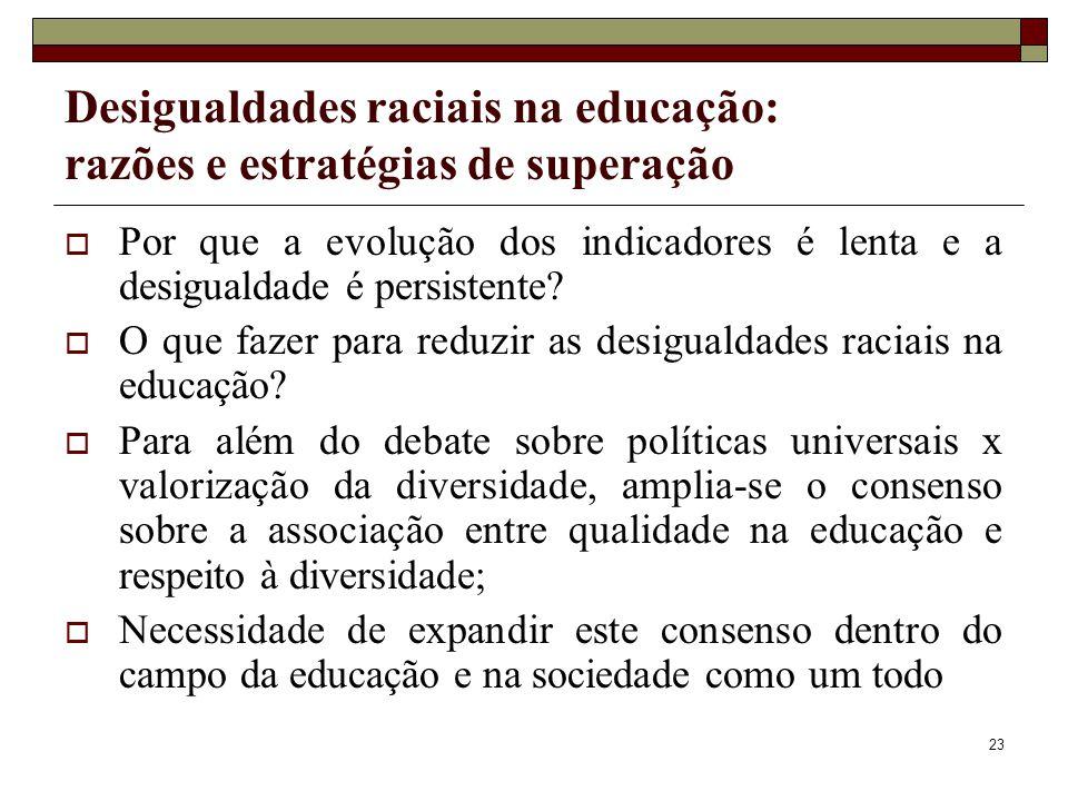 23 Desigualdades raciais na educação: razões e estratégias de superação  Por que a evolução dos indicadores é lenta e a desigualdade é persistente? 