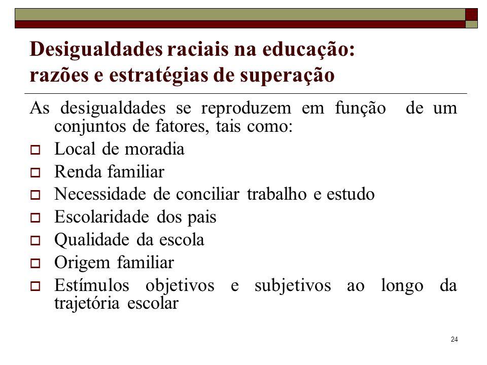 24 Desigualdades raciais na educação: razões e estratégias de superação As desigualdades se reproduzem em função de um conjuntos de fatores, tais como