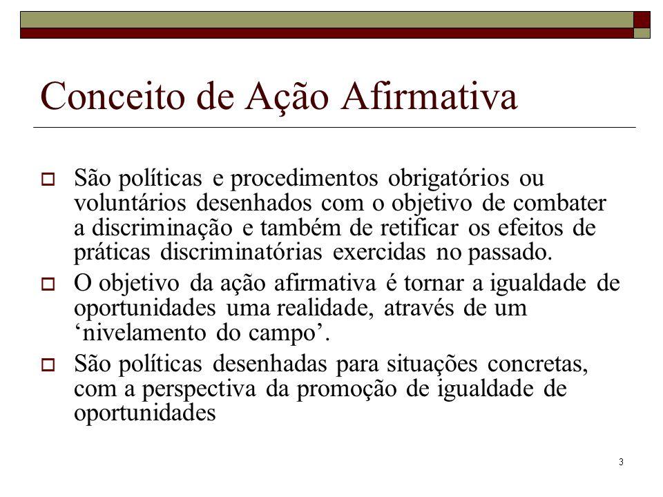 3 Conceito de Ação Afirmativa  São políticas e procedimentos obrigatórios ou voluntários desenhados com o objetivo de combater a discriminação e tamb