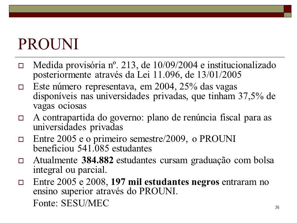 36 PROUNI  Medida provisória nº. 213, de 10/09/2004 e institucionalizado posteriormente através da Lei 11.096, de 13/01/2005  Este número representa