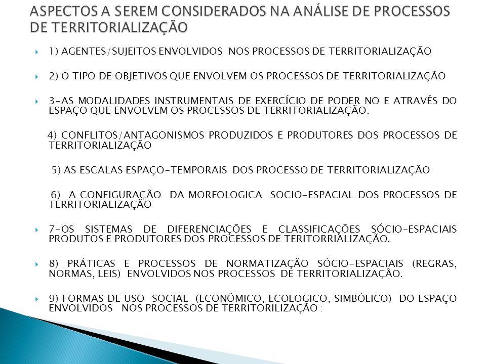  1) AGENTES/SUJEITOS ENVOLVIDOS NOS PROCESSOS DE TERRITORIALIZAÇÃO  2) O TIPO DE OBJETIVOS QUE ENVOLVEM OS PROCESSOS DE TERRITORIALIZAÇÃO  3-AS MODALIDADES INSTRUMENTAIS DE EXERCÍCIO DE PODER NO E ATRAVÉS DO ESPAÇO QUE ENVOLVEM OS PROCESSOS DE TERRITORIALIZAÇÃO.