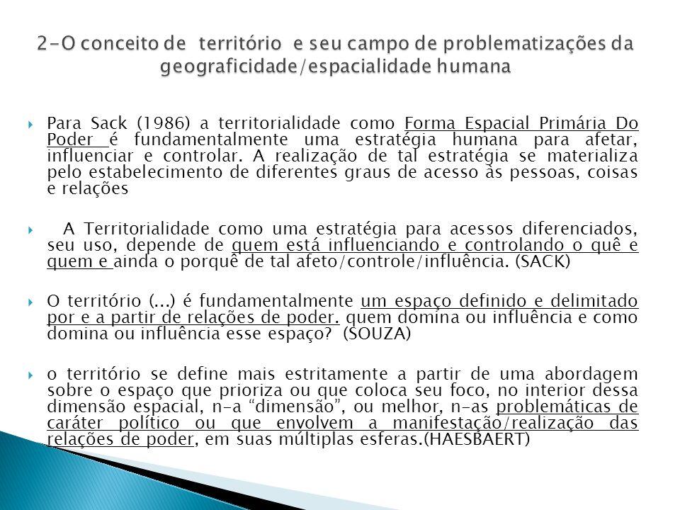  Para Sack (1986) a territorialidade como Forma Espacial Primária Do Poder é fundamentalmente uma estratégia humana para afetar, influenciar e controlar.