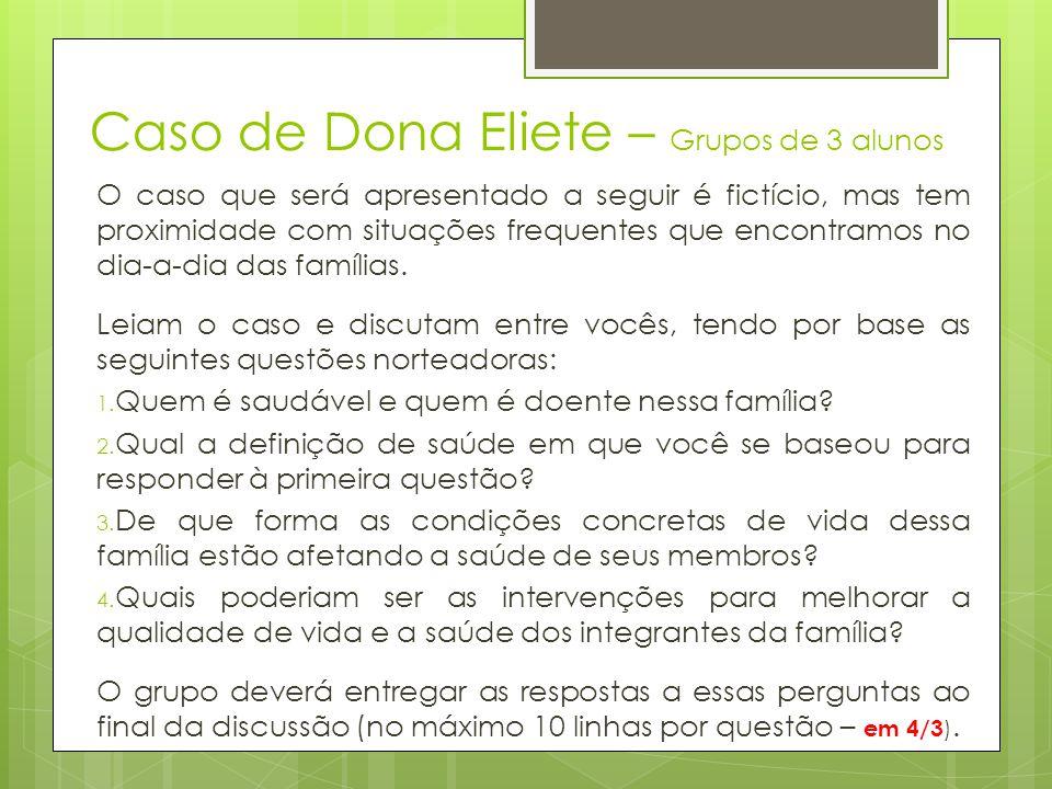 Caso de Dona Eliete – Grupos de 3 alunos Eliete tem 42 anos, completou o ensino médio e há 10 foi diagnosticada com o vírus HIV.