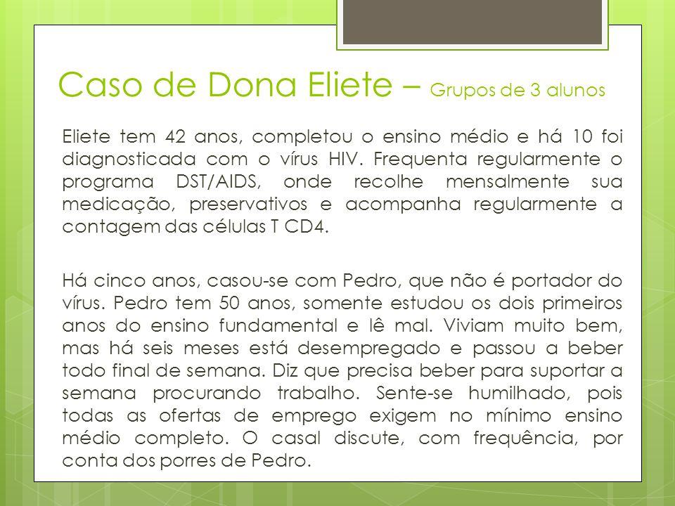 Caso de Dona Eliete – Grupos de 3 alunos Eliete tem 42 anos, completou o ensino médio e há 10 foi diagnosticada com o vírus HIV. Frequenta regularment