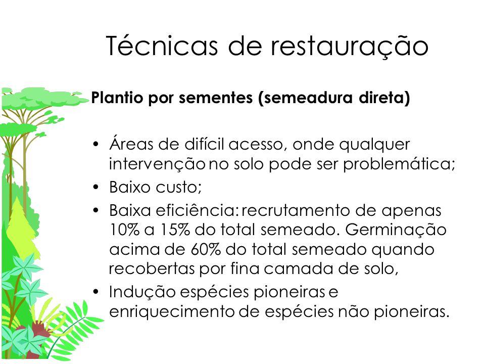 Técnicas de restauração Plantio por sementes (semeadura direta) Áreas de difícil acesso, onde qualquer intervenção no solo pode ser problemática; Baixo custo; Baixa eficiência: recrutamento de apenas 10% a 15% do total semeado.