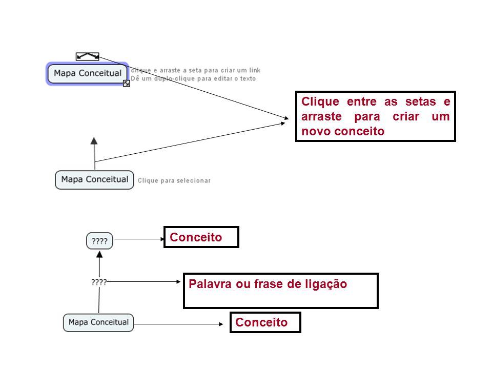 Clique entre as setas e arraste para criar um novo conceito Conceito Palavra ou frase de ligação