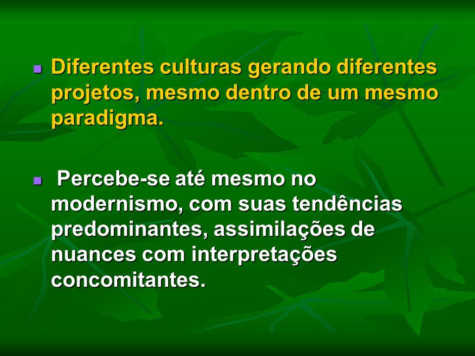 Diferentes culturas gerando diferentes projetos, mesmo dentro de um mesmo paradigma. Diferentes culturas gerando diferentes projetos, mesmo dentro de
