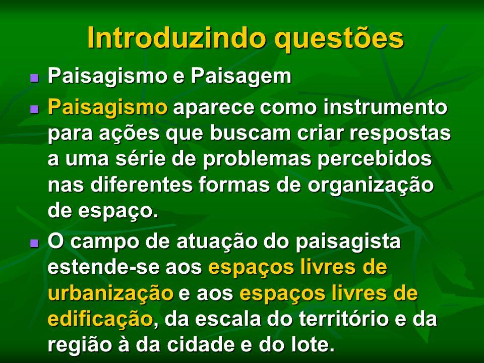 Introduzindo questões Introduzindo questões Paisagismo e Paisagem Paisagismo e Paisagem Paisagismo aparece como instrumento para ações que buscam cria