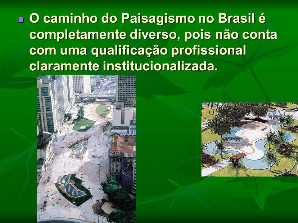 O caminho do Paisagismo no Brasil é completamente diverso, pois não conta com uma qualificação profissional claramente institucionalizada. O caminho d
