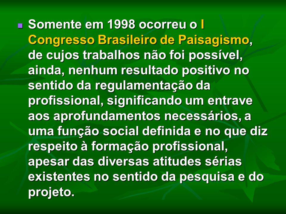 Somente em 1998 ocorreu o I Congresso Brasileiro de Paisagismo, de cujos trabalhos não foi possível, ainda, nenhum resultado positivo no sentido da re