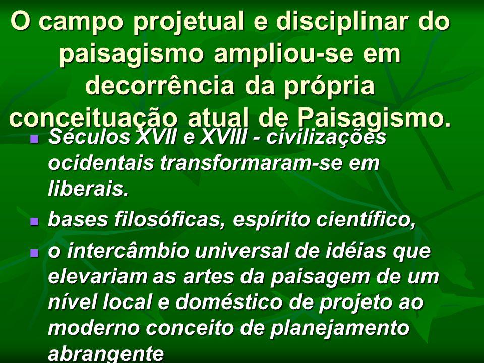 O campo projetual e disciplinar do paisagismo ampliou-se em decorrência da própria conceituação atual de Paisagismo. Séculos XVII e XVIII - civilizaçõ