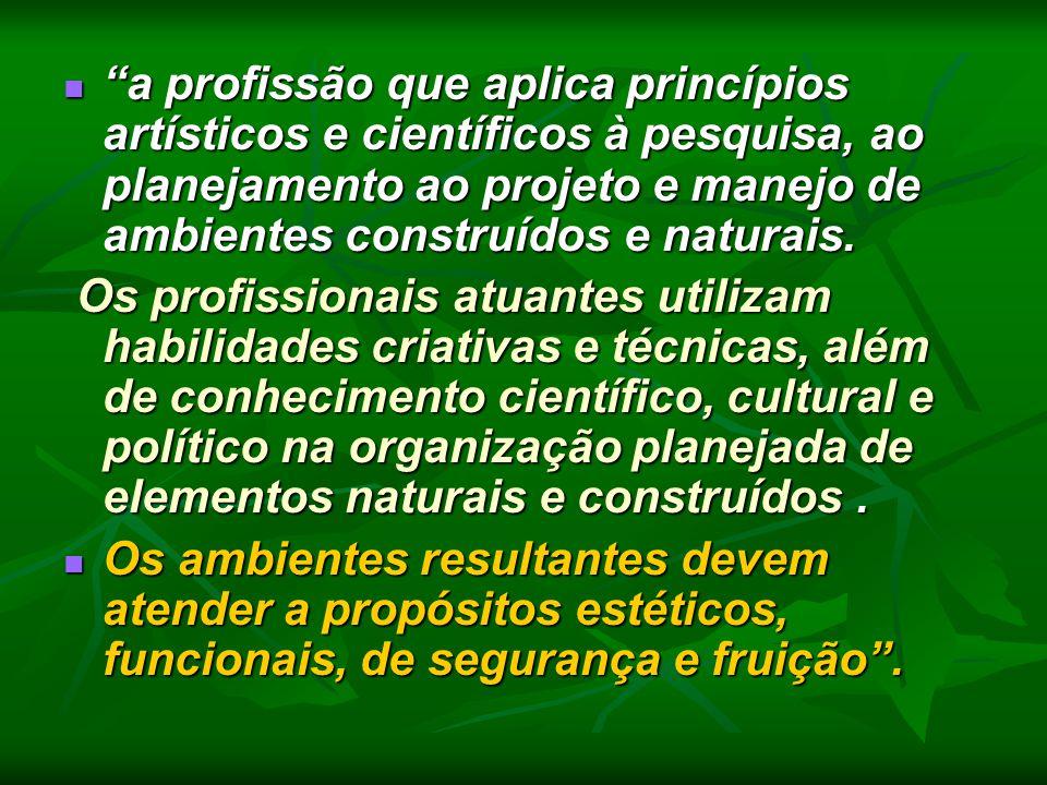 """""""a profissão que aplica princípios artísticos e científicos à pesquisa, ao planejamento ao projeto e manejo de ambientes construídos e naturais. """"a pr"""