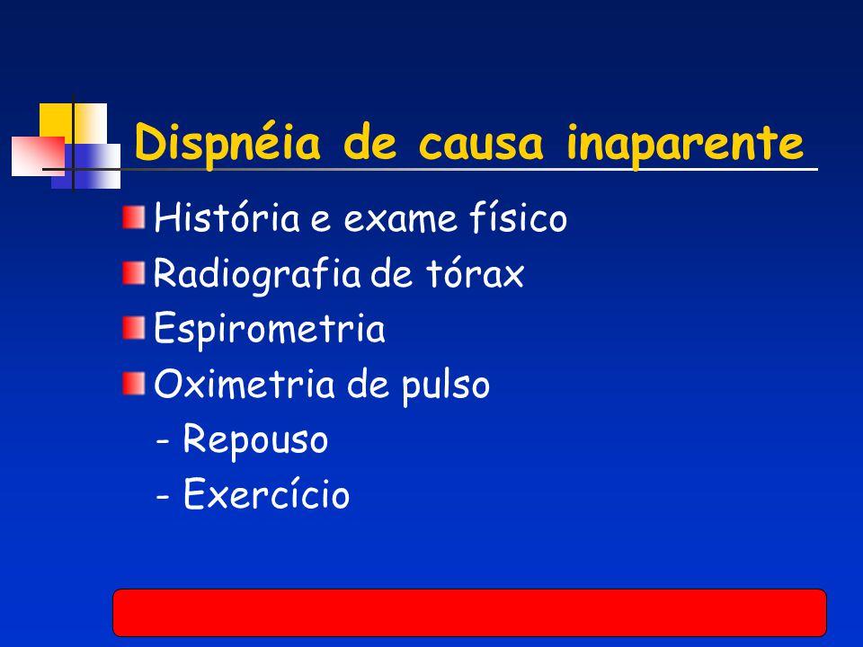 Dispnéia de causa inaparente História e exame físico Radiografia de tórax Espirometria Oximetria de pulso - Repouso - Exercício