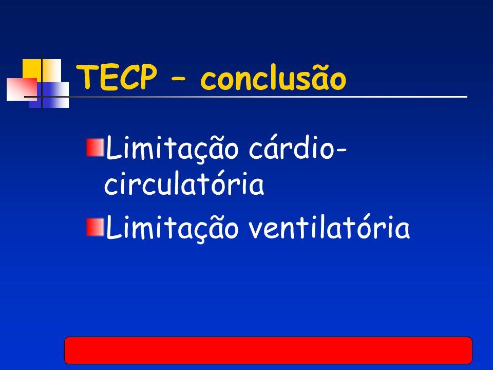 TECP – conclusão Limitação cárdio- circulatória Limitação ventilatória